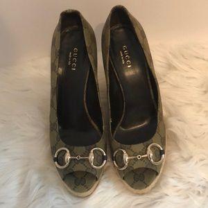 Gucci espadrille peep toe wedges